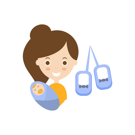 motherhood: Motherhood As Personal Happiness Idea. Woman Holding A Baby And Walkie-Talkie Simple Flat Cartoon Vector Illustration On White Background
