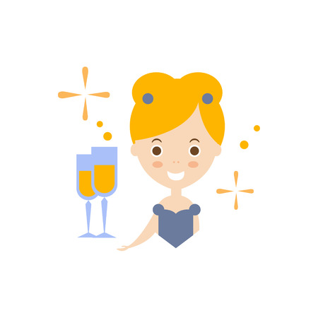 wealthy lifestyle: Celebrity As Personal Happiness Idea. Woman In Fancy Dress With Champagne Glass Simple Flat Cartoon Vector Illustration On White Background Illustration