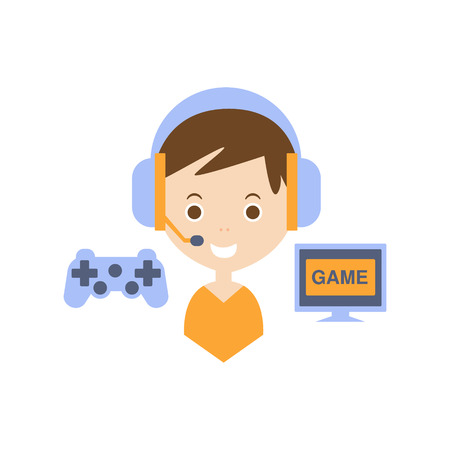 video gaming: Video Games As Personal Happiness Idea. Kid With Handsfree And Gaming Equipment Simple Flat Cartoon Vector Illustration On White Background