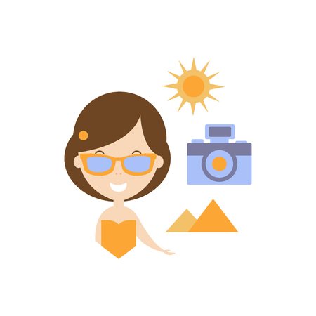 Travellng As Personal Happiness Idea. Woman, Camera And Pyramids Simple Flat Cartoon Vector Illustration On White Background
