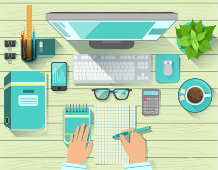 view from above: Office Workplace Elements Set View From Above. Colorful Illustration In Simple Style In Cartoon Flat Vector Design Illustration