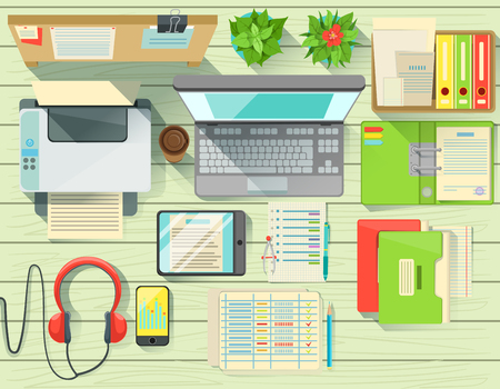 lap top: Modern Office Desk Elements Set View From Above. Colorful Illustration In Simple Style In Cartoon Flat Vector Design