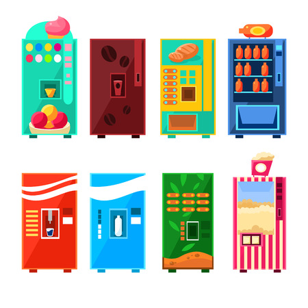 음식과 음료 자동 판매기 디자인 원시적 인 밝은 만화 플랫 벡터 스타일 파란색 배경에 고립에서 디자인 설정