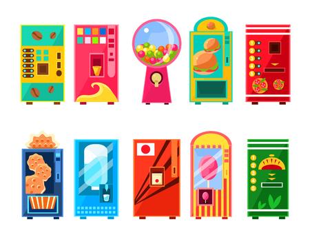 Eten en drinken Vending Machines Design Set In Primitive Bright Cartoon Flat Vector stijl geïsoleerd op blauwe achtergrond