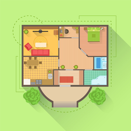 from above: House Floor Interior Design Project View From Above. Flat Simple Bright Color Vector Plan Of Furniture Placement Illustration