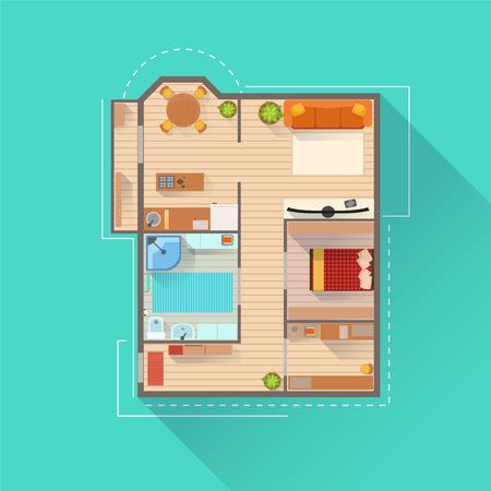 Apartamento de diseño de interiores Proyecto vista desde arriba. Plan de vector plana simple del color brillante de la colocación de muebles