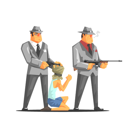 Two Mafia Criminals With Hostage. Old School Chicago Mafia Themed Illustration. Cool Colorful Vector Sticker In Stylized Geometric Cartoon Design Illustration