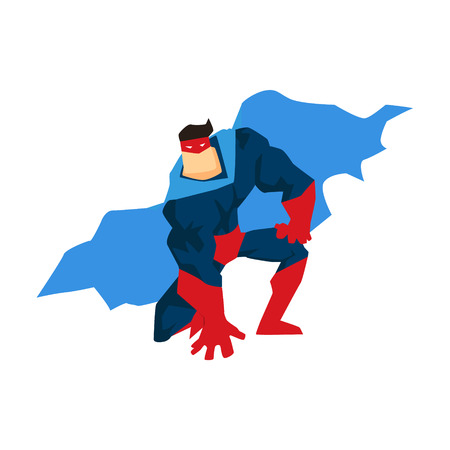 versatile: Superhero in Action. Superhero silhouette in different poses vector Illustration