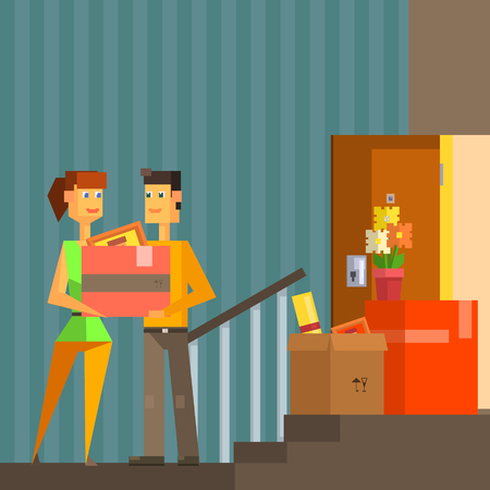resettlement: Young Couple Moving Into New Apartment Pixelated Illustration. Minimalistic 8-bit Style Bright Color Illustration OF Resettlement Process.
