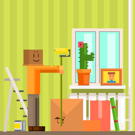 resettlement: Man With Carton Box Mask Painting The Ceiling In New Apartment Pixelated Illustration. Minimalistic 8-bit Style Bright Color Illustration OF Resettlement Process. Illustration