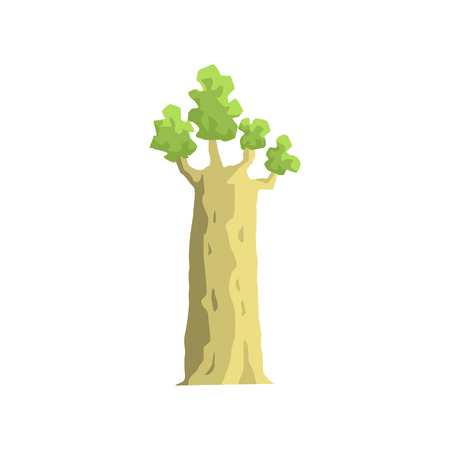 baobab tree: Young Baobab Tree Jungle Landscape Element. Simple Tropical Forest Object Illustration Isolated On White Background. Illustration