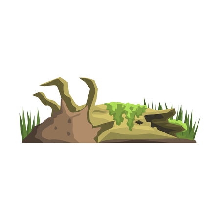 swamp: Decaying Tree Trunk In Swamp Jungle Landscape Element. Simple Tropical Forest Object Illustration Isolated On White Background.