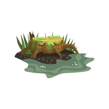 submerged: Old Stump Submerged In Water Jungle Landscape Element. Simple Tropical Forest Object Illustration Isolated On White Background.
