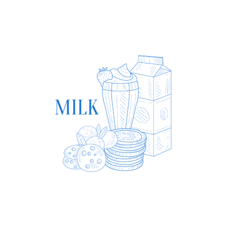 carton de leche: Milk Carton, Milkshake And Cookies Hand Drawn Realistic Sketch. Hand Drawn Detailed Contour Illustration On White Background.