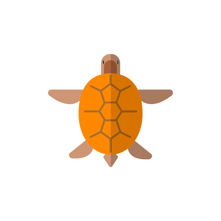childish: Turtle From Above Primitive Style Childish Sticker. Marine Animal Minimalistic Vector Illustration Isolated On White Background. Illustration