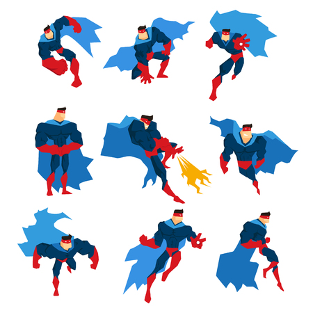 superpowers: Comics Superhero With Blue Cape In Action Classic Poses Stickers. Stylized Geometric Character With Superpowers Illustrations Isolated On White Background.