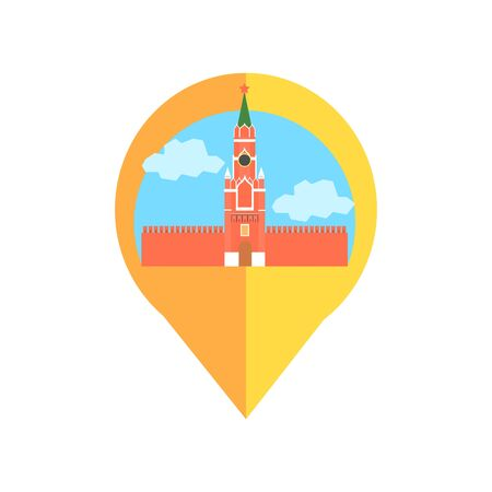 kremlin: On-line Map Marker With Moscow Kremlin. Smartphone App Classic Destination Tag In Geometric Design Isolated On White Background