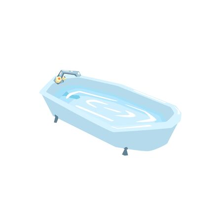 bath tub: Bath Tub Filled With Water Cool Colorful Vector Illustration In Stylized Geometric Cartoon Design Isolated On White Background Illustration