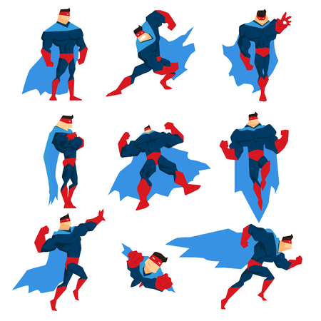superpowers: Superhero With Blue Cape In Different Comics Classic Poses Stickers. Stylized Geometric Character With Superpowers Illustrations Isolated On White Background.