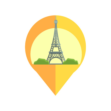 eifel tower: On-line Map Marker With Eifel Tower. Smartphone App Classic Destination Tag In Geometric Design Isolated On White Background Illustration