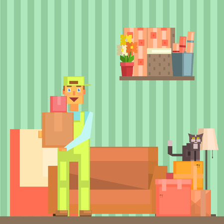 Loader Taking Out Packed Boxes From The Room Pixelated Illustration. Minimalistic 8-bit Style Bright Color Illustration OF Resettlement Process.