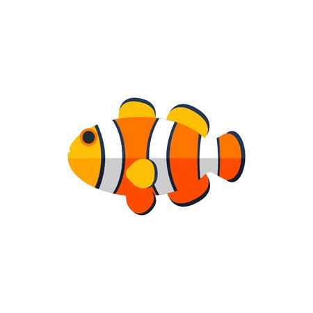 Clown Fish Primitive Style Childish Sticker. Marine Animal Minimalistic Vector Illustration Isolated On White Background.
