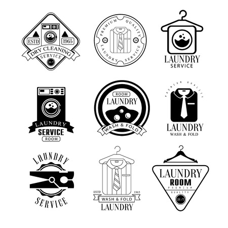 clothespeg: Laundry And Dry Cleaning Service Black And White Label Set Of Traditional Style Flat Vector Design Templates On White Background