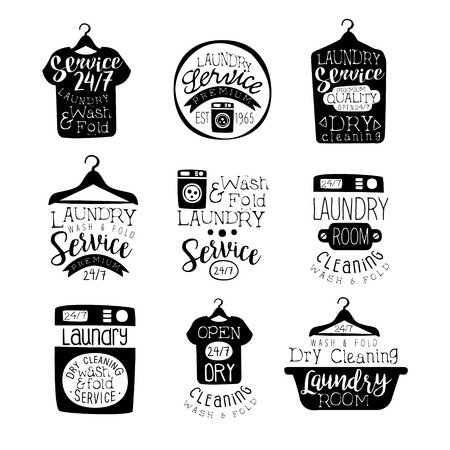 Laundry Room Black And White Label Set Of Traditional Style Flat Vector Design Templates On White Background