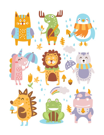 rainbow umbrella: Animal Woodland Autumn Vector Set. Cartoon of cute animals