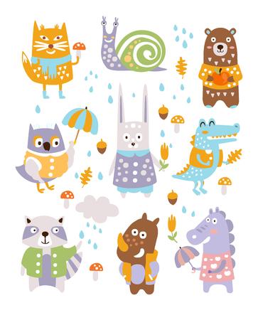 Animal Woodland Autumn Vector Set. Cartoon van schattige dieren