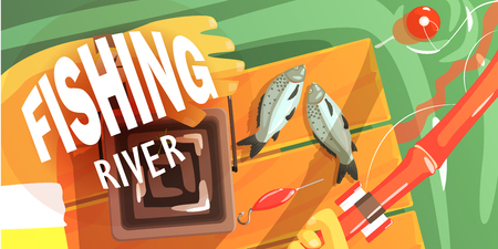 visible: Fishing On The River Illustration With Only Hands Visible Cool Colorful Vector Illustration In Stylized Geometric Cartoon Design