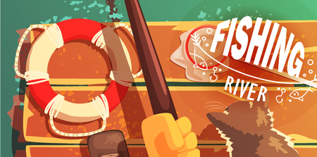 view from above: Fishing On The River With Cat View From Above Illustration Cool Colorful Vector Illustration In Stylized Geometric Cartoon Design