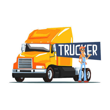 trucker: Trucker Standing Next To Heavy Yellow Long-Distance Truck Cool Colorful Vector Illustration In Stylized Geometric Cartoon Design