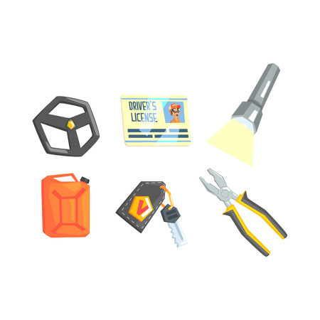 stirring: Set Of Different Truck Driver Job Related Items. Stirring Wheel, License, Plyers, Lamp, Petrol Canister And Keys Cool Colorful Vector Illustration In Stylized Geometric Cartoon Design