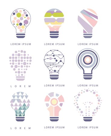 different idea: Idea Bulb Different Abstract Design Pastel Icons. Electric Bulb Shape Filled With Patterns As Creative Thinking Symbol.