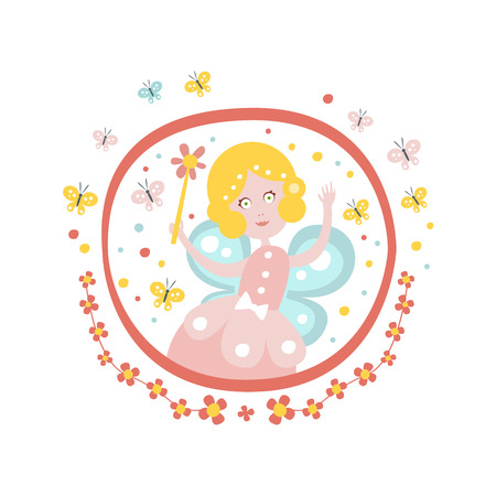 godmother: Fairy Godmother Fairy Tale Character Girly Sticker In Round Frame In Childish Simple Design Isolated On White Background