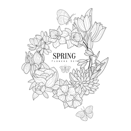 Wrath Of Spring Flowers Hand Drawn Realistic Sketch. Artistic Pencil Detailed Contour Illustration On White Background.