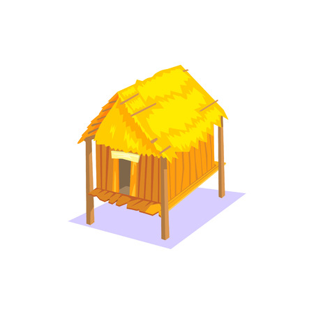 elevated: Elevated Wooden House Jungle Village Landscape Element. Cool Colorful Vector Illustration In Stylized Geometric Cartoon Design
