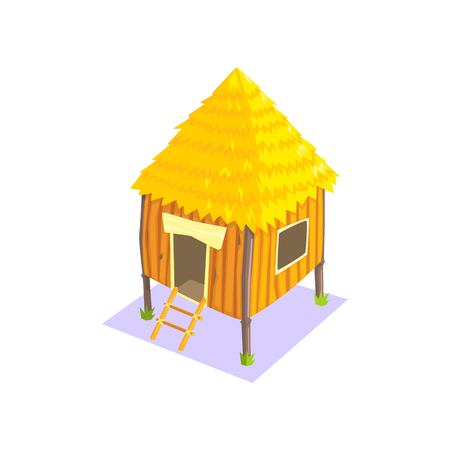 Little Elevated Wooden Hut Jungle Village Landscape Element. Cool Colorful Vector Illustration In Stylized Geometric Cartoon Design Illustration
