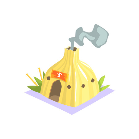 wigwam: Shaman Hut With Smoke Coming Out Jungle Village Landscape Element. Cool Colorful Vector Illustration In Stylized Geometric Cartoon Design Illustration