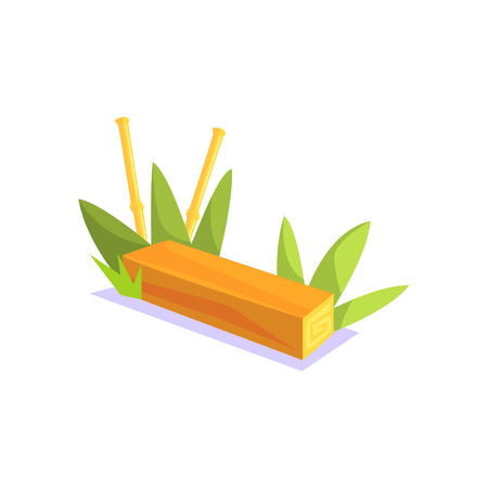 wooden bench: Wooden Bench Jungle Village Landscape Element. Cool Colorful Vector Illustration In Stylized Geometric Cartoon Design