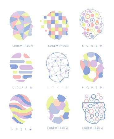 different thinking: Thinking Inside Human Head Different Abstract Design Pastel Icons. Man Head Shape Filled With Patterns As Creative Thinking Symbol. Illustration