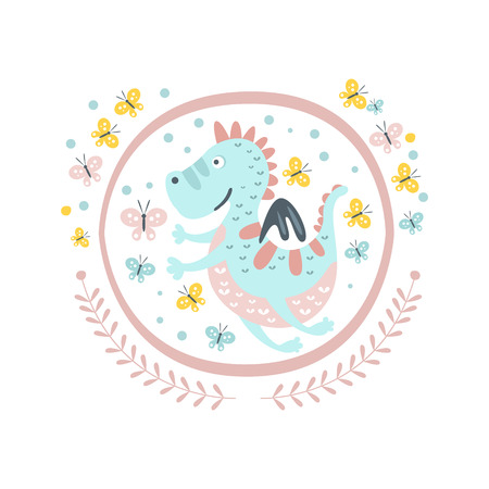 girly: Good Dragon Fairy Tale Character Girly Sticker In Round Frame In Childish Simple Design Isolated On White Background Illustration