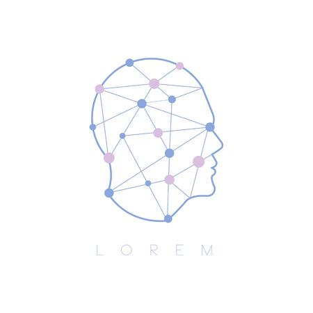 Geometrische vormen binnen menselijk hoofd Abstract ontwerp Pastel pictogram. Man Hoofdvorm Gevuld Met Patronen Als Creatief Denkend Symbool. Stockfoto - 62528968