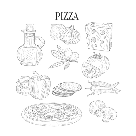 pizza ingredients: Pizza Ingredients Isolated Hand Drawn Realistic Sketches. Artistic Pencil Detailed Contour Illustration On White Background.