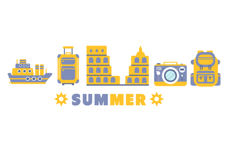 lined up: Summer Vacation Symbols Set By Five In Line Blue And Yellow Clipart Vector illustration On White Background