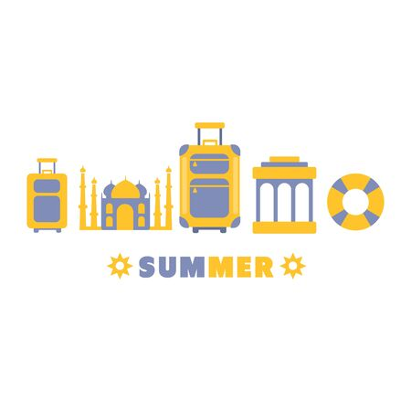 lined up: Summer Travel Symbols Set By Five In Line Blue And Yellow Clipart Vector illustration On White Background