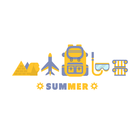 lined up: Egypt Summer Trip Symbols Set By Five In Line Blue And Yellow Clipart Vector illustration On White Background