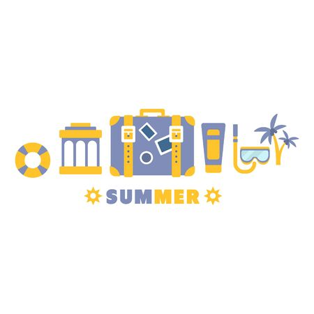 lined up: Beach Vacation Symbols Set By Five In Line Blue And Yellow Clipart Vector illustration On White Background