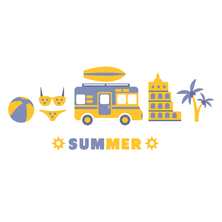 lined up: Summer Traveling Symbols Set By Five In Line Blue And Yellow Clipart Vector illustration On White Background Illustration